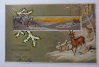Neujahr, Dorf, Abendrot, Rehe, Winterlandschaft,1907, Prägekarte ♥ (47030)