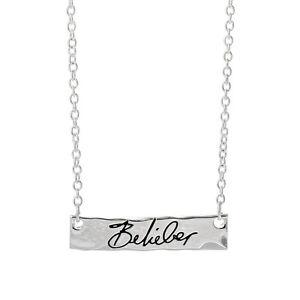 Justin Bieber Belieber Script Bar Necklace