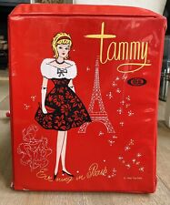 "Vintage Tammy Doll Red Carrying Case Ideal Toy Corp. 1960s ""Evening In Paris"""