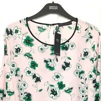 Ladies Blouse Top M&S / Pink Floral High Neck Flute Sleeve 24 BNWT / Marks Women
