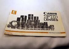 Canon Lens Instructions FD  Guide Brochure EN 1977 manual focus lenses
