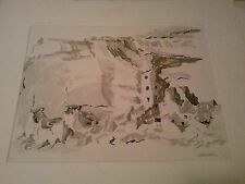 Nice Prentiss Taylor ink-wash (sumi) of Cliff Palace CO . Well listed artist