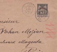 CRETE France LEVANT 1901 *LA CANEA* CDS Post Offices Abroad Cover Paris MS778