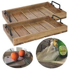 2x Mango-Holz Serviertablett 38x25x5 Set Bett Griff-Tablett Henkel Deko Vintage