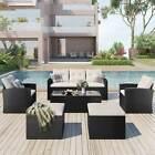 6pcs Sectional Sofa Ottoman Table Conversation Set Rattan Patio Garden Furniture