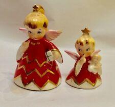 2 Vintage 1956 Geo Z Lefton Naughty Angel Christmas Bells H H 80112 Figurines