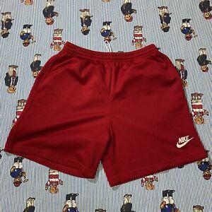 Vintage NIKE Red Drawstring Mesh Basketball Athletic Shorts Adult MEDIUM Polye