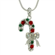 """Candy Cane Bow W Swarovski Crystal Christmas Pendant Holiday Necklace 18"""" Chain"""