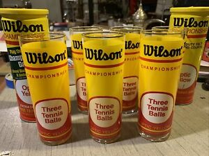 Set of 6 Vintage Wilson Tennis Highball Glasses Two Cans Of Tennis Balls New.