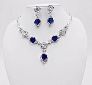 NECKLACE BLUE SAPPHIRE SYN SILVER 18K WHITE GOLD FILLED GP WEDDING VTG BRIDAL 6