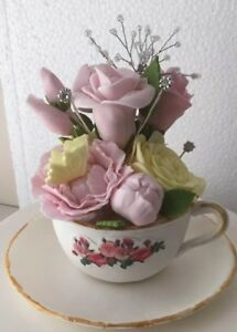Bespoke Edible CUP & SAUCER WITH FLOWERS Watch & 3 Roses  Decoration Cake Topper