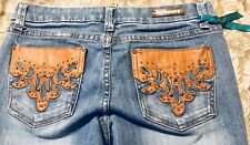 Dollhouse Womens Jeans 7x33 Bootcut, Leather Pockets