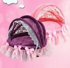 New Princess Pink/Purple Soft Pet Dog Cat Roof Bed House Sofa Cushion Kennel S,M