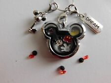 MICKEY FLOATING MEMORY LOCKET W/ NECKLACE, CHARMS, & DANGLES  FITS ORIGAMI OWL!