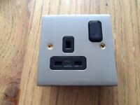 MK Alloy Brushed Nickel 13Amp 1 Gang Single Switched Plug Socket K5357 BNI UCB