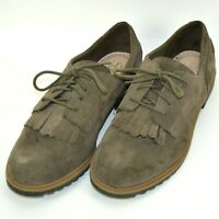 Clarks Somerset Suede Leather Fringe Oxford Shoes Womens Size 9.5 M Brown 15190