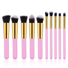 10Pcs Makeup Brush Tools Cosmetic Eyebrow Shadow Face Lip Brush Pink Gold Brush