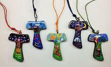 Tau in legno decorato con immagine cantico delle creature San Francesco 1pz