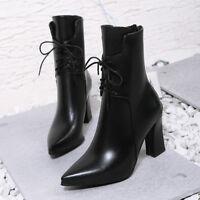 2018 Damenschuhe Hoch Blockabsatz Ankle Stiefeletten Boots Spitz Sexy Stiefel