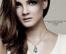 """Blaue ewige Liebe Wasser-Kristalltropfen Anhänger mit einer Kette Halskette 19"""""""