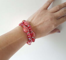 Gorgeous set of 2 irredescent shiny RED & silver elasticated bead bracelets