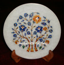 """Marble Floral Inlay Decoration Plate, 8"""" Inch Handicrafts Decorative Round Plate"""