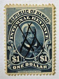 1897 Hawaii $1 Revenue R11 Decent Centering with Manuscript Pen Cancel