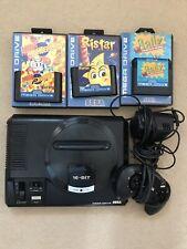 Sega Mega Drive PAL-I 16 Bit Console 1 Controller 3 Games Mega Bomberman Working