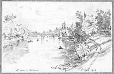 LÉON BERVILLE 2 DESSINS ORIGINAUX 1904 PONT DE PUTEAUX Hauts-de-Seine