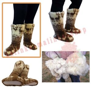 WOMEN'S SHEEP WOOL SLIPPERS KNEE HIGH TOP BOOTS FELT SHEEPSKIN SNUGGS VALENKI
