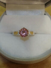 Genuine natural pink tourmaline sterling silver ring, size 6
