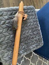 "Navajo Signed JT Wooden Flute W/Added Carved Bear Figurine 17"""