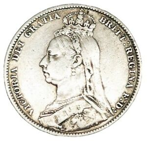Queen VICTORIA 1890 One Sterling Silver Shilling Scarce Coin