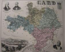 CARTE département du GARD en 1886  Portraits Guizot et d'Assas  Gravure de Alais