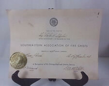 1956 SOUTHEASTERN ASSOCIATION OF FIRE CHIEFS HONORARY MEMBER CERTIFICATE
