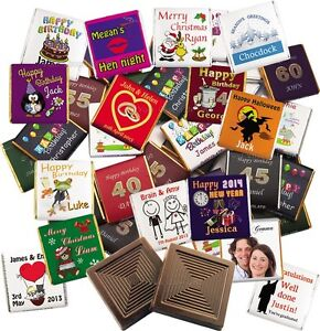 100 Personalised Belgian chocolate favours: Wedding, Birthday Party, Christening