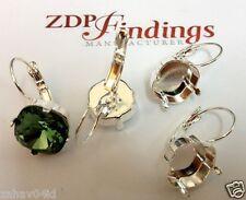 6pcs x Square 12mm Bezel Earrings Silver plated fit Swarovski 4470 (LBSQ1211SP)