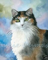 Art Print 8x10 Cat 572 Calico from original watercolor painting by L.Dumas