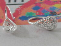 1 paio di monachelle per orecchini frontale goccia filigranato argento 925 It.