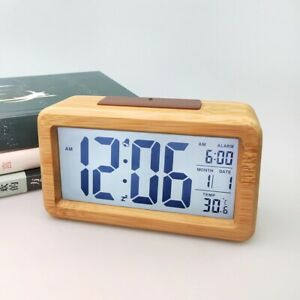 Wood Digital Table Clock Alarm Snooze Display Calendar Desk Mirror Temperature