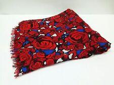 Auth LOUIS VUITTON Etole Rock N' Roses M70476 Red Black Blue Modal Silk Scarf