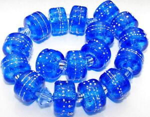 "Sistersbeads ""O-Sapphire"" Handmade Lampwork Beads"