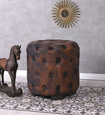 English Stool Ottoman Chesterfield Pouf Faux Leather Loft Sitting Stool