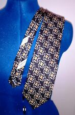 Valentino Tie 58L x 4W Black with Gold Swirls Hand Made in Italy 100% Silk VGC