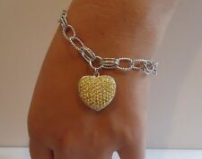 925 STERLING SILVER LADIES HEART CHARM BRACELET 5 CT YELLOW  ACCENTS