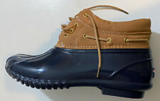 Tommy Hilfiger Harley Navy/Tan Duck Snow Rain Winter Shoes Boots Women's Sz 11 M