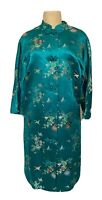 Green Satin Shanghai Chinese Embroidered Frog Closure Robe Small S Butterfly