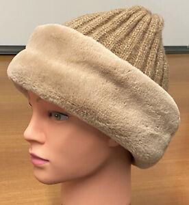 M&S Brown Camel Cable Knit Faux Fur Trim Beanie Winter Hat Size S/M RRP£19.5