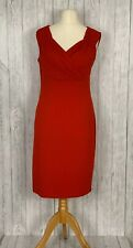 ELITE 99 UK14 Red Pencil Dress Stretchy Empire Waist Ruched Shoulders With Tags