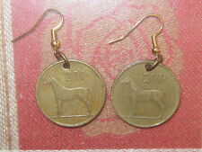 VINTAGE ANTIQUE CELTIC IRISH IRELAND HORSE/HARP COIN DANGLE RUSTIC EARRINGS